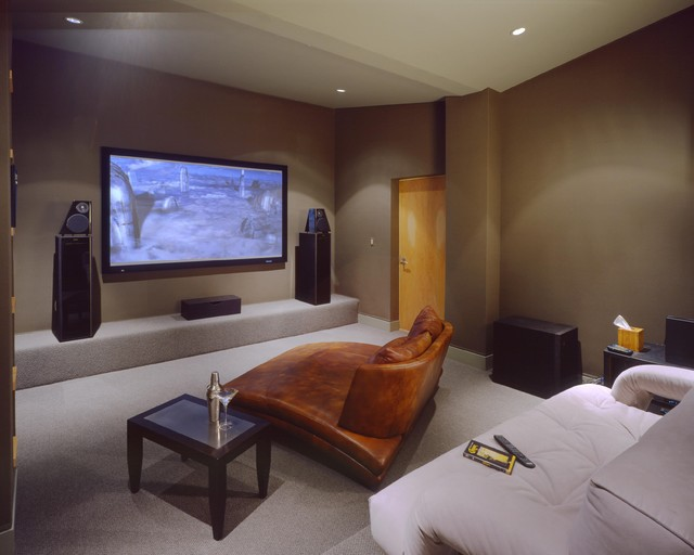Cuddle Chair Home Theater Contemporary with Brown Walls Ceiling Lighting