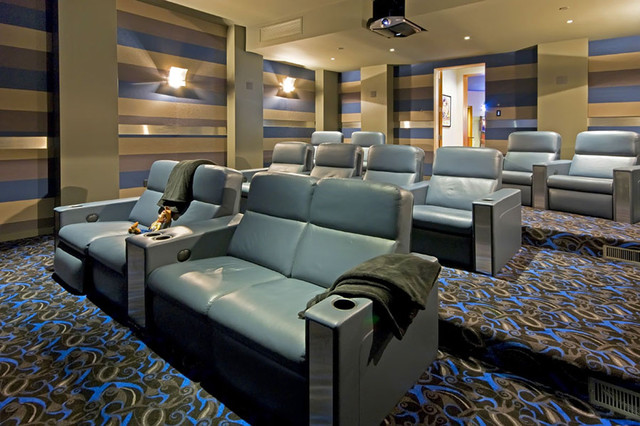 Cuddle Chair Home Theater Contemporary with Colorful Carpet Pattern Home