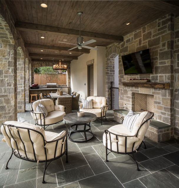 Cuddle Chair Patio Traditional with Ceiling Fan Fire Place
