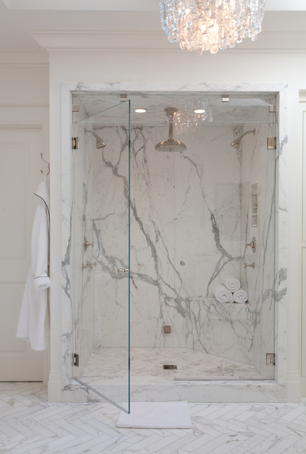 Cultured Marble Shower Bathroom Contemporary with Double Showerheads Frameless Shower