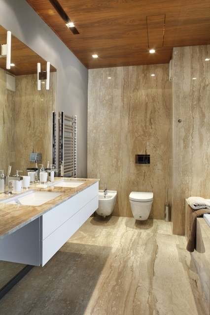 Cultured Marble Shower Bathroom Contemporary with Double Sink Floating Vanity
