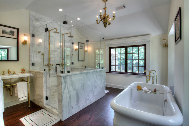 Cultured Marble Shower Bathroom Farmhouse with Antique Bacchus Chandelier Antique