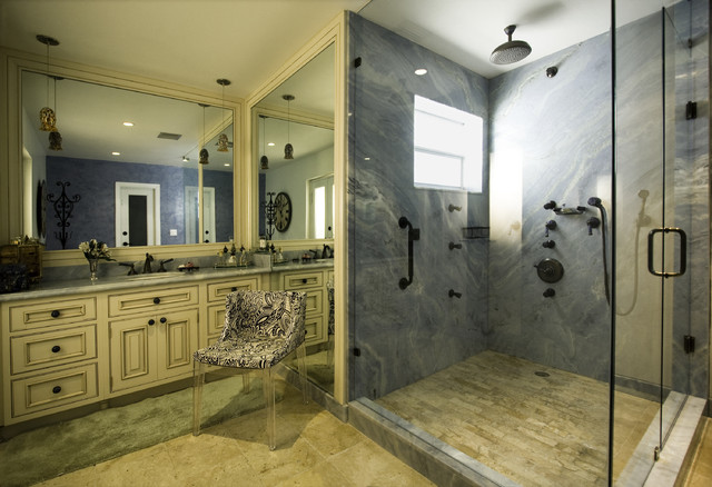 Cultured Marble Shower Bathroom Mediterranean with Cabinets Kartell Mademoiselle Chair