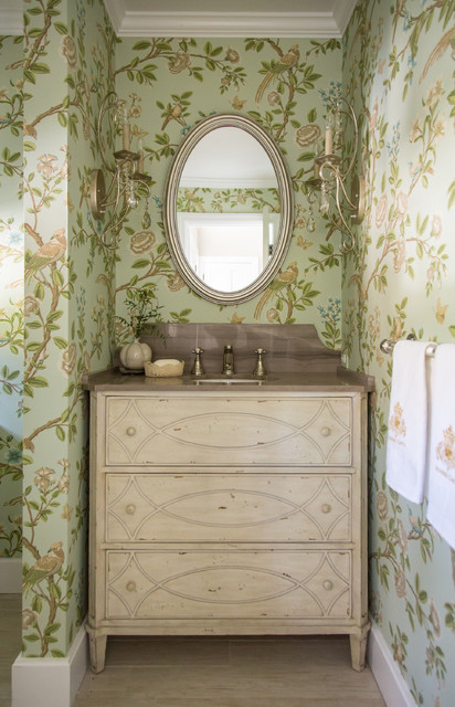 Currey and Co Powder Room Shabby Chic with Alcove Baseboard Candle Sconces