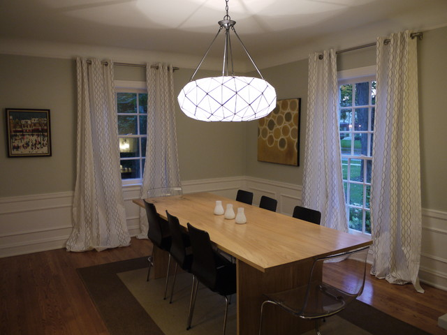 Curtain Lengths Dining Room Contemporary with Area Rug Ceiling Lighting
