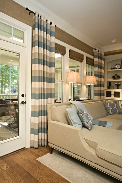 curtain lengths Family Room Traditional with CategoryFamily RoomStyleTraditionalLocationRaleigh