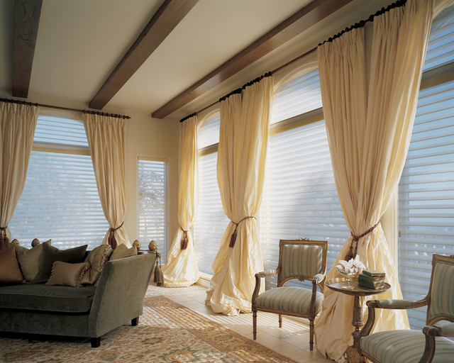 Curtain Lengths Living Room Transitional with Draperies Drapery