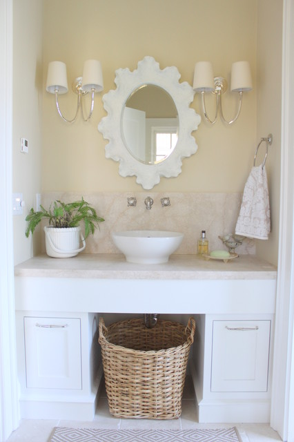 Curtain Rings with Clips Powder Room Beach with Backsplash Beige and White