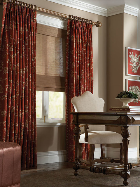 Curtain Rod Brackets Spaces Traditional with Coordinating Fabrics Copper Toned