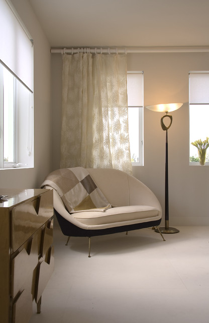 Curtain Rod Extender Bedroom Midcentury with Beige Wall Chest Of
