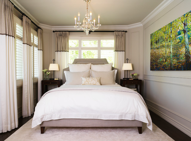 Curtain Rod Finials Bedroom Transitional with Artwork Baseboards Bedroom Bedside