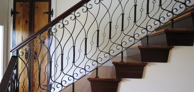 Curtain Rod Holders Staircase Traditional with Handmade Iron Railing Origional