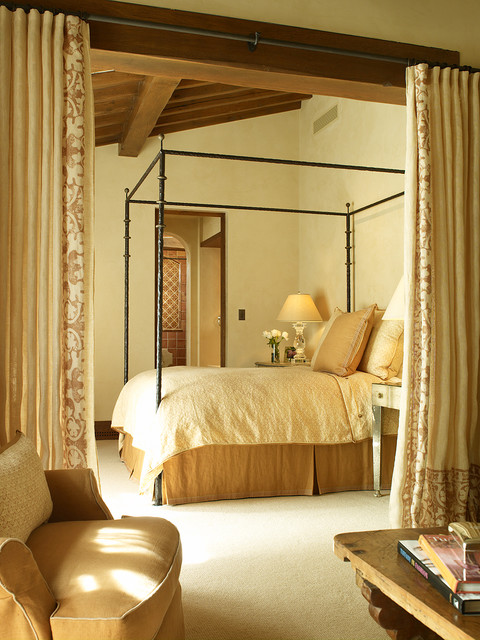 Curtain Room Dividers Bedroom Mediterranean with Armchair Bedside Tables Canopy