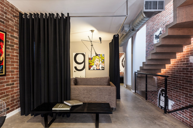 curtain room dividers Entry Contemporary with black brick wall concrete
