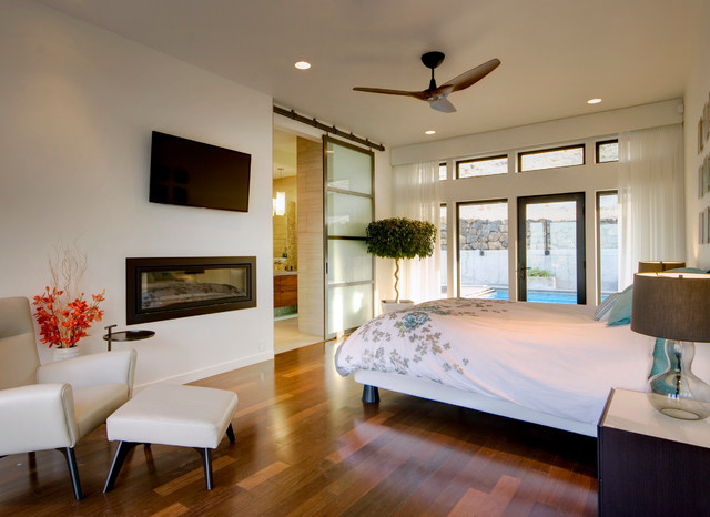 Curtains for Sliding Glass Doors Bedroom Contemporary with Barn Door Bedroom Fireplace
