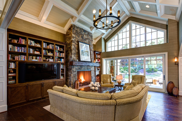 curved sectional sofa Family Room Traditional with cathedral ceiling coffered ceiling