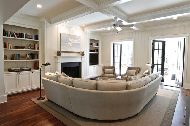 Curved Sectional Sofa Living Room Beach with Artwork Beadboard Box Beams