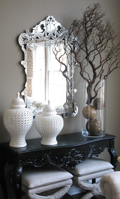 cylinder vase Entry Eclectic with console table ginger jars