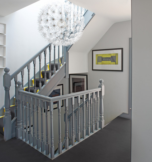 Dalworth Carpet Cleaning Staircase Contemporary with Banded Stair Runner Gray