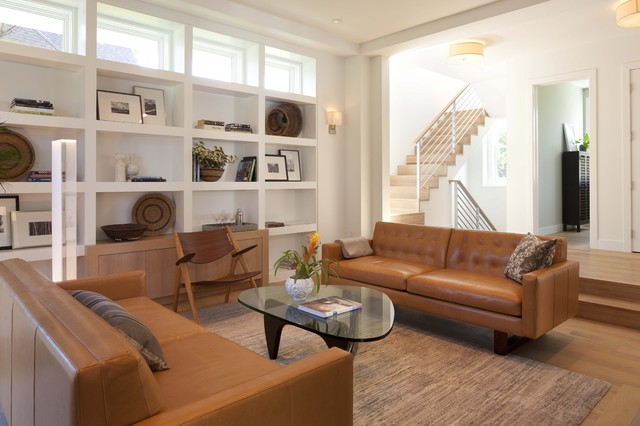 Danish Inspirations Family Room Modern with Area Rug Bookcase Bookshelves