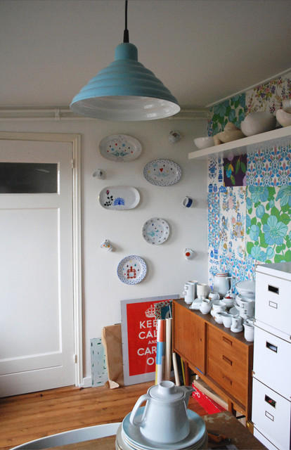 Danish Inspirations Home Office Eclectic with Accent Wall Ceiling Lighting