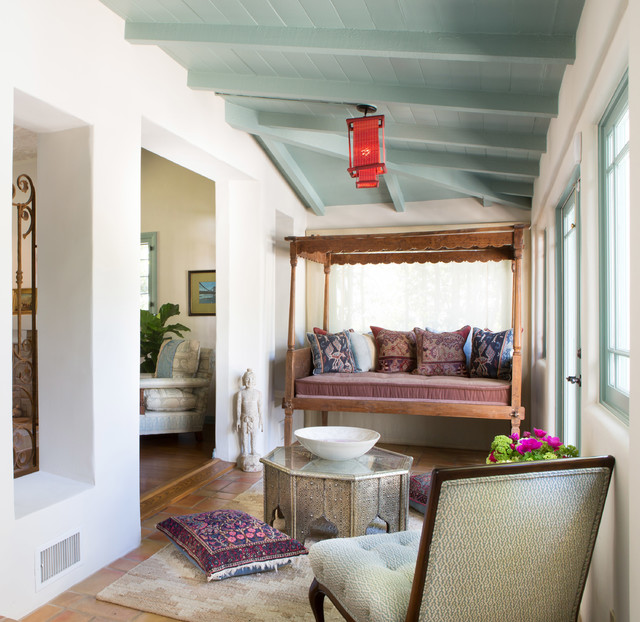 Daybed Covers Ikea Sunroom Mediterranean with Art Deco Beamed Ceiling