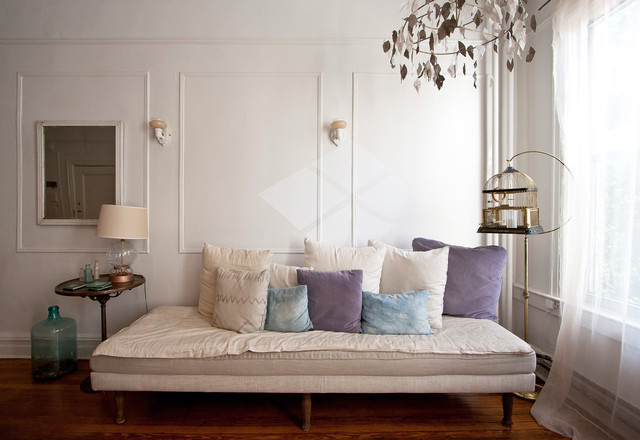 daybed frame Living Room Eclectic with birdcage curtains daybed decorative