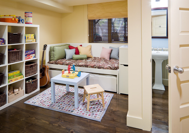 Daybed Trundle Kids Eclectic with Alcove Area Rug Basement