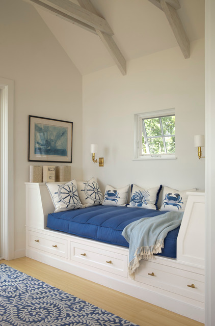 Daybed with Drawers Family Room Beach with Annie Selke Blue And