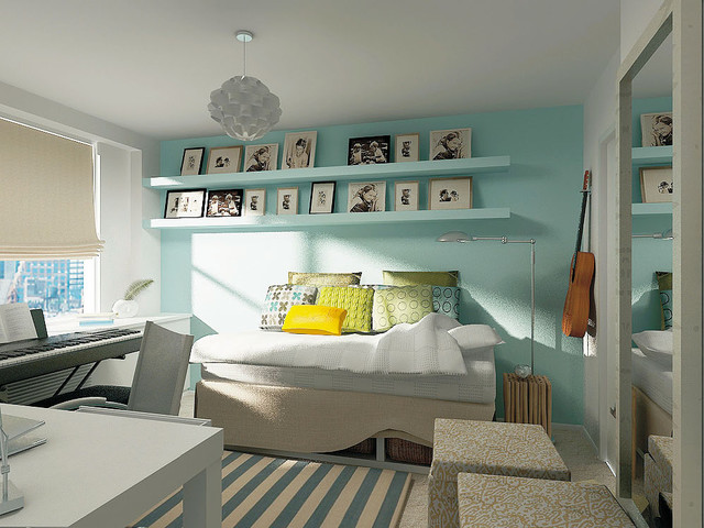Daybed with Drawers Kids Contemporary with Accent Wall Ceiling Lighting