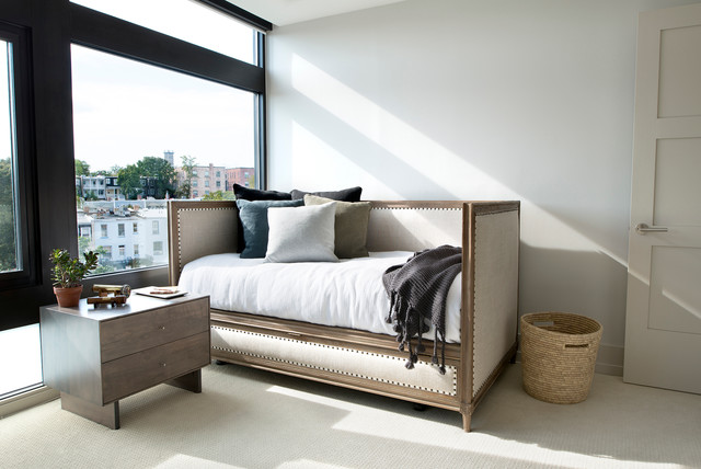 Daybed with Trundle Bedroom Transitional with Basket Bedding Carpet Cushions