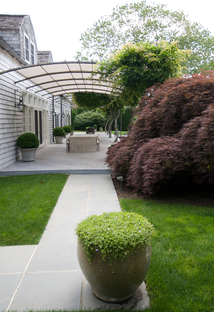 Deck Awnings Landscape Contemporary with Arched Roof Covered Patio