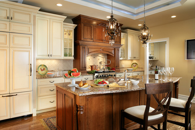 decora cabinets Kitchen Traditional with cabinet-front refrigerator diamond backsplash