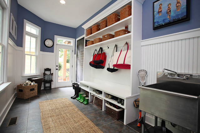 Decorative Chalkboards Entry Farmhouse with Area Rug Baskets Beadboard
