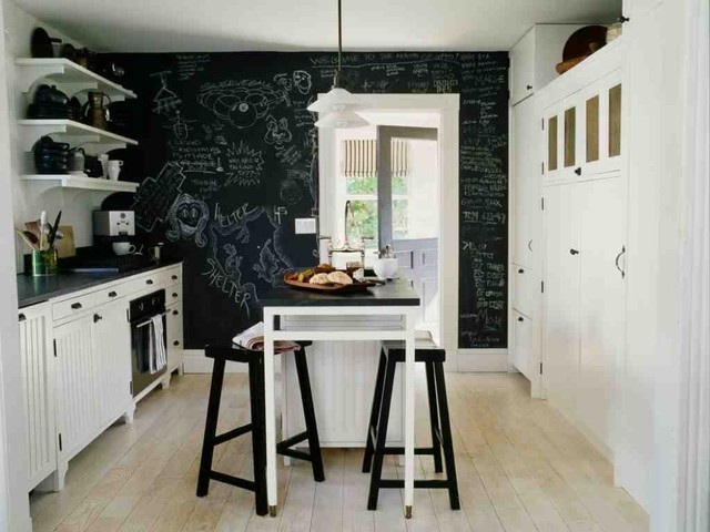 Decorative Chalkboards Kitchen Beach with Bar Stools Beadboard Black