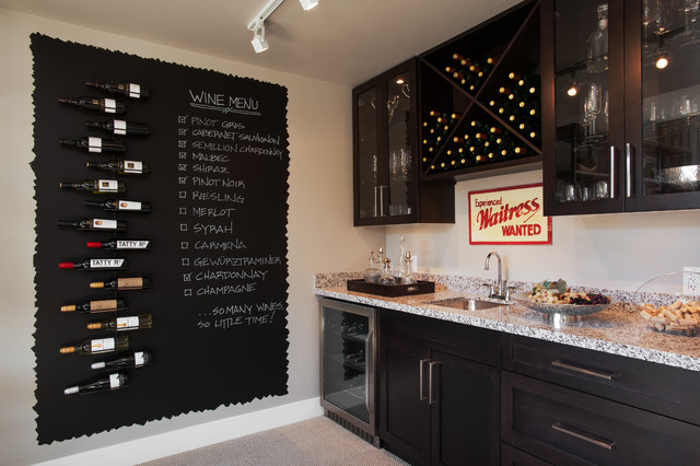 Decorative Chalkboards Wine Cellar Contemporary with Bar Sink Beige Wall