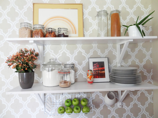 Decorative Shelf Brackets Kitchen Eclectic with Diy Kitchen Open Shelving