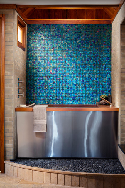 Deep Bathtubs Bathroom Contemporary with Beige Tile Wall Blue
