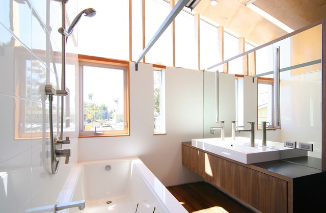 Deep Bathtubs Bathroom Contemporary with Beige Wall Clerestory Windows