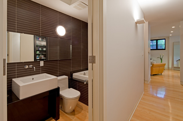 Deep Bathtubs Bathroom Contemporary with Brown and White Brown