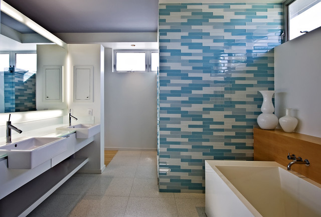 deep bathtubs Bathroom Modern with bathroom lighting blue tile