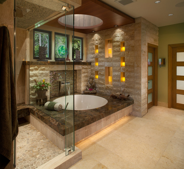 deep soaking tub Bathroom Asian with contemporary cove lighting cutout
