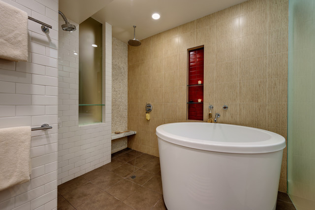 Deep Soaking Tub Bathroom Contemporary with Brown Floor Drain Freestanding