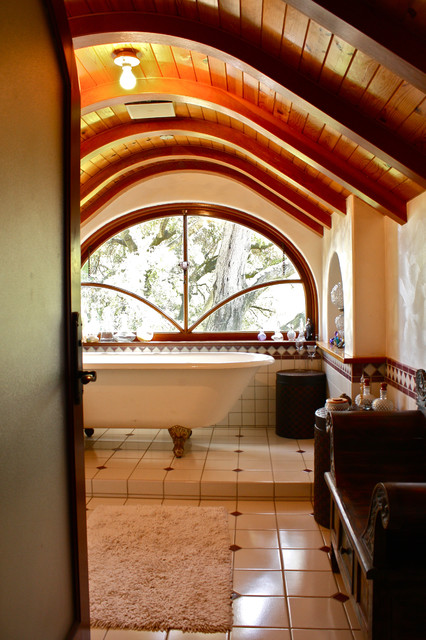 Deep Soaking Tub Bathroom Eclectic with Arched Ceiling Arched Window