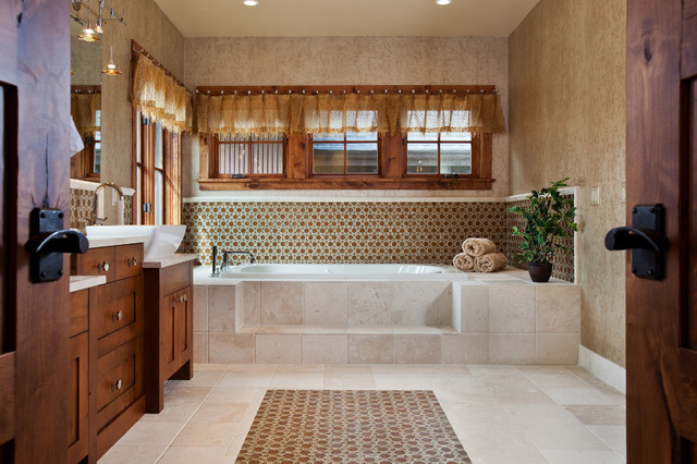 Deep Soaking Tub Bathroom Traditional with Dark Stained Wood Mirror
