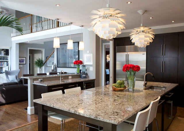 Delicatus Granite Kitchen Contemporary with Breakfast Bar Ceiling Lighting