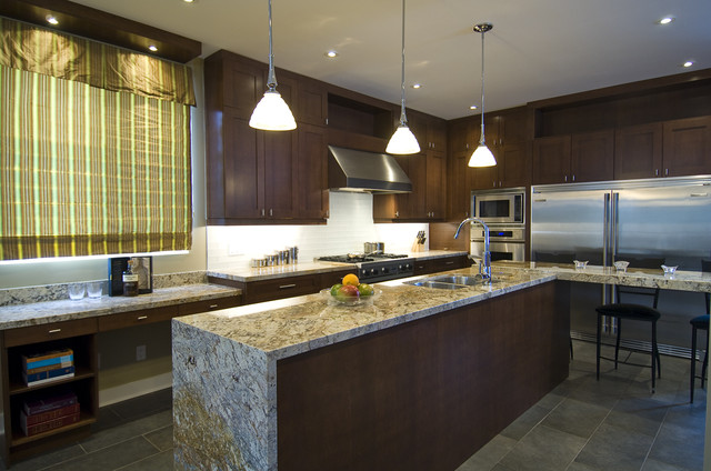 Delicatus Granite Kitchen Contemporary with Canister Set Ceiling Lighting