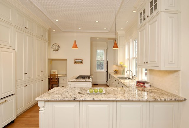 Delicatus Granite Kitchen Traditional with Desk French Window L Shaped