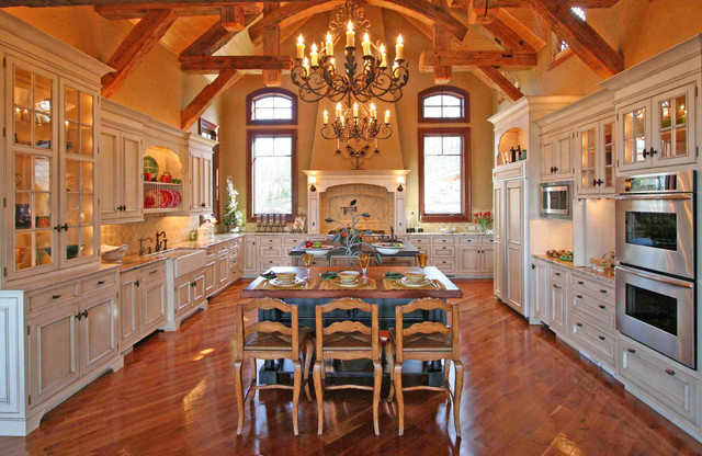 Delicatus Granite Kitchen with American Rustic Dining Room
