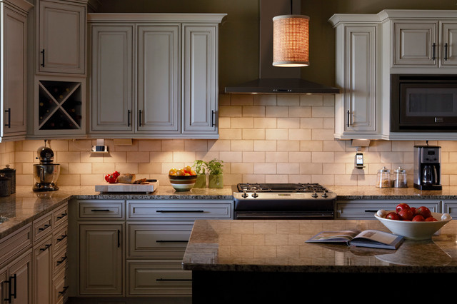 Delicatus Granite Kitchen with Cabinet Lighting Countertop Lights